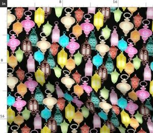 Glowing Holiday Moroccan Lanterns Multicolor Spoonflower Fabric by the Yard