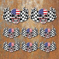 USA FLAG SKULL LAMINATED STICKER SET Car Motorbike American decals b