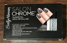 New Sally Hansen Lim Ed Salon Chrome 5PC Kit Miracle Gel Nail Polish Gunmetal