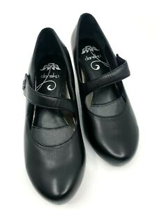 DANSKO Betty Shoe Black Leather Adjustable Strap Closure Rubber Sole Size EU 38