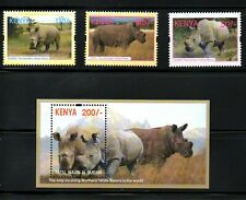KENYA,  2018, ANIMALS - WHITE RHINO, 3v+ M/S,  MNH,