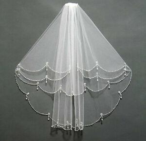 UK New 2 Layer White/Ivory Elbow Length Beads Edge Wedding Bridal Veil + Comb