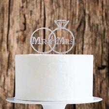 Silver Glitter Mr&Mrs Rings Cake Topper x1 Baking Pick Decoration Wedding