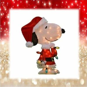 "32"" Lighted Snoopy Holding Christmas Lights Yard Decor (New) - FREE SHIP"