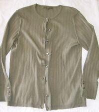 Next Ribbed Button Cardigan khaki green long sleeved jumper Size 18 vgc