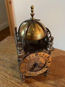 Vintage Brass Lantern Clock , Smiths Empire 8 Day Movement C:-1950s GWO.