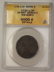 1736 Great Britain 1/2 Pence Copper Coin George II ANACS G-4 Details Rim Bumps