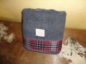 VINTAGE RALPH LAUREN FLAG PLAID BLACK RED (1) BATH TOWEL 26 X 48