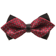 Men's Diamond Tip Leather Centre Pre-Tied Bow Tie Evening Work Wedding
