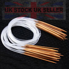 Bamboo Straight Circular Knitting Needles Crochet Hook Weave 18 Set UK Seller