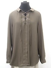 Olive green Miss Selfridge lace-neck shirt size 12