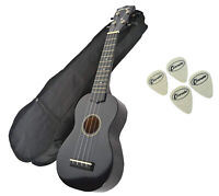 Soprano Beginners Ukulele -  Free Gig Bag & 4 Felt Picks. In Black by Clearwater