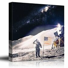 Astronaut in Outerspace Saluting and Adding the USA Flag - Canvas Art - 24x24