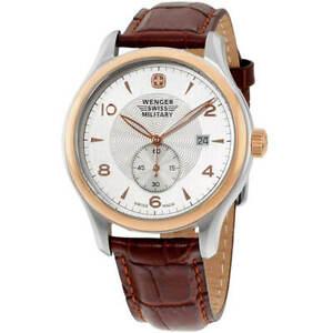 Wenger Men's Watch Swiss Quartz Silver Dial Brown Leather Strap SS Case 79313C