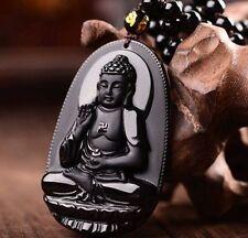 Black Natural A Obsidian Carved Buddha Pendant Giving black rope gift lisa-06