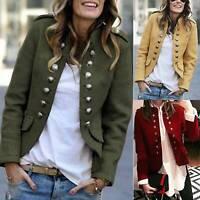 Women's Ladies Double Breasted Blazer Work Coat Double Row Button Suit Jacket