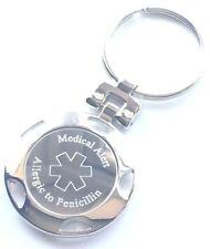 Allergic to Penicillin Personalised Engraved Medical Alert SOS ID Keyring