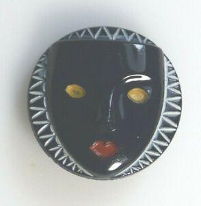 Vintage Art Deco Mask Glass Buttons Modernism Couture 1930 Nr. Mint