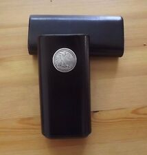 Black Leather Cedar Lined 3 Cigar Case with Replica Half Dollar