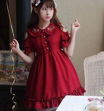 Cute Girl Summer Short Sleeve Rose Red Lolita Dress Peter Pan Collar OffShoulder