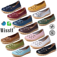 Womens Comfort Leather Slip On Shoes Flat Loafers Ladies Casual Oxfords Shoes US