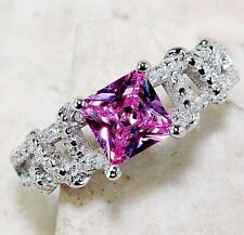 Top Quality 2CT Pink Sapphire & Topaz 925 Sterling Silver Ring  Jewelry Sz 7, M2