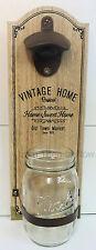 Vintage Home en Bois Ouvre Bouteille Support Mural Cap Catcher Jar Chic Shabby