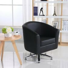 DELUXE LEATHER SWIVEL TUB CHAIR ARMCHAIR DINING LIVING ROOM HOTEL   BLACK Part 85