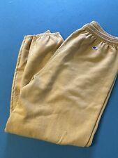 Vintage Champion Mens Reverse Weave Yellow Sweatpants Rare Pants Size L