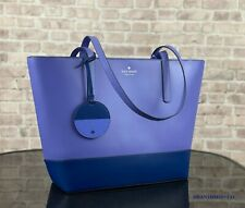 KATE SPADE NEW YORK BRIEL LEATHER LARGE TOTE SHOULDER BAG $329 Blue Purple