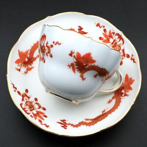 Antique/Vintage? German Meissen Red Dragon Cup & Saucer Set Swords Dot Mark