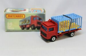 """Matchbox Lesney Superfast No35 VOLVO ZOO TRUCK in RED with CORRECT L TYPE BOX """""""