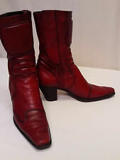 Miu Miu Italy Lady's High End Soft Red Leather Side Zip Fashion Boots 38.5 (8)