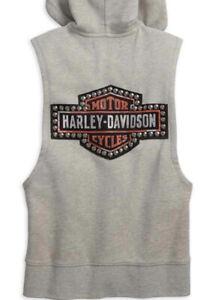 Harley Davidson Hoodie Sleeveless Sweatshirt Full Zip Studded HD Women Sz 1W NWT
