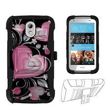 HTC Desire 526(Verizon)3D Hearts Hybrid Shell Case w/Kickstand & Holster