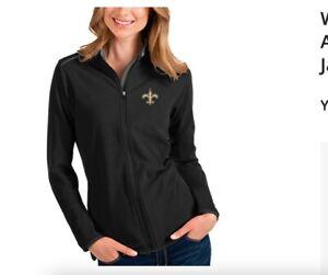 NWT Women's New Orleans Saints Antigua Black Full-Zip Jacket