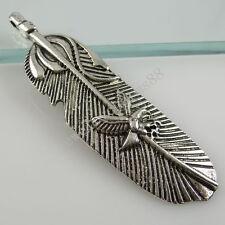 11408 8PCS Alloy Eagle Feather Pendant Charms Antique Style Vintage Silver Tone