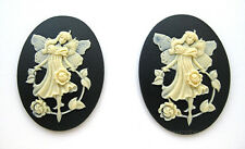 2 IVORY color FAIRY & English ROSES on BLACK 40mm x 30mm Costume Jewelry CAMEOS