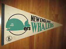 "Vintage 70s WHA NEW ENGLAND WHALERS 30"" Pennant WHITE"