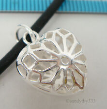 1x STERLING SILVER FLOWER PUFF HEART CHARM PENDANT 15mm #2115
