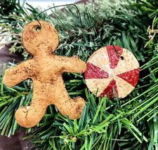 Primitive Christmas Gingerbread Man Candy Cane 2pc Ornie Handmade Free Shipping