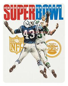 1969 Super Bowl III Color Poster Jets vs Colts REPRINT 16 X 20 Photo Picture