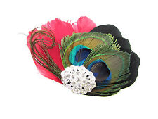 Red Black Silver Peacock Feather Fascinator Hair Clip Races Vintage 1920s Z14