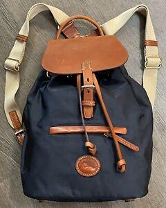 Dooney & Bourke Allie  Navy Blue Nylon Backpack Leather Trim Adjustable Straps
