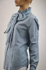 Ralph Lauren Light Blue & White Ruffled Collar Blouse  -Size XLarge- NWT