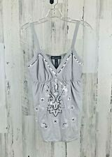 INC International Concepts Women's Gray Sequin Embroidered Tank Top Size L