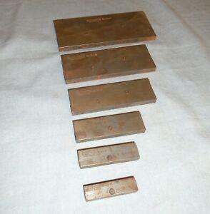 Vintage LS Starrett Adjustable Parallel Bars Machinist Tooling Set of Six