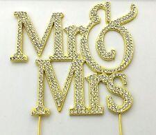 Mr & Mrs Cake Topper  Gold Wedding Decoration Rhinestone And Diamante Bling Sign