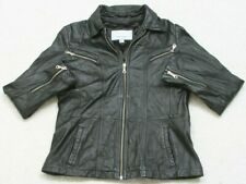 Wilson's Leather Maxima Black Jacket Coat Zipper Front Large Men's Man's Pockets