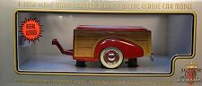 MOTOR CITY CLASSICS 1:18 SCALE DIECAST METAL RED WOODY TRAILER WITH HITCHES